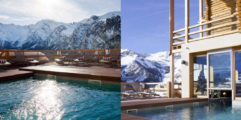 Vue sur la piscine et la montagne de l'hôtel Alta Peyra & Spa **** à Saint-Véran