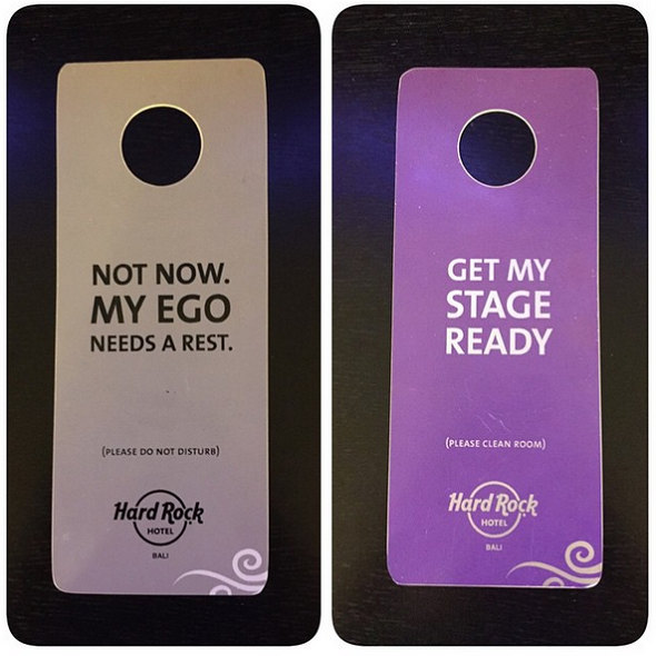 Door hangers Hard Rock Hotel in Bali