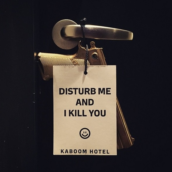Door hangers at Kabbom Hotel in Maastricht