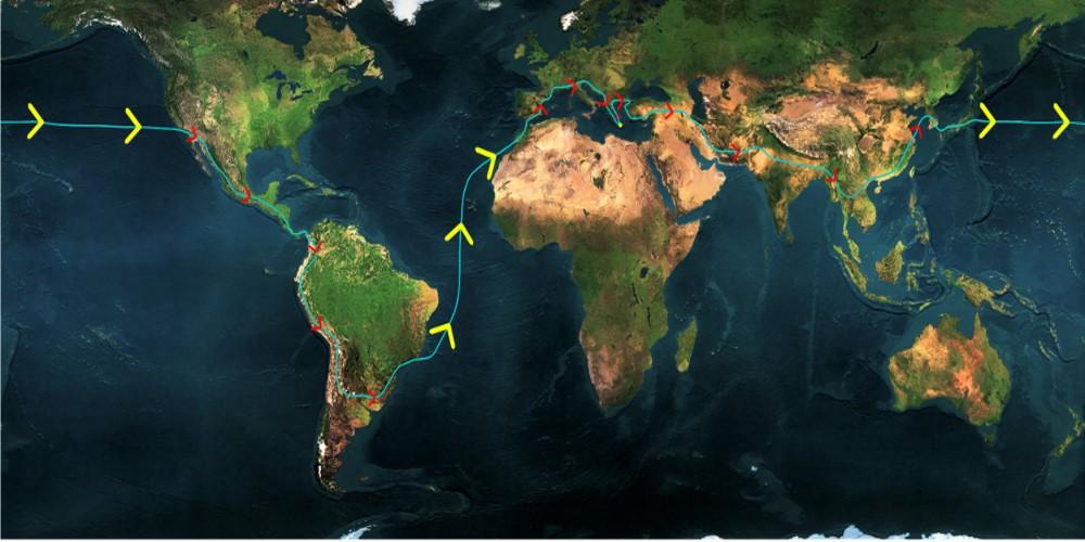 χάρτης Αποστολής Τσεπαπαδάκης ο γυρος του κοσμου με ενα ποδηλατο