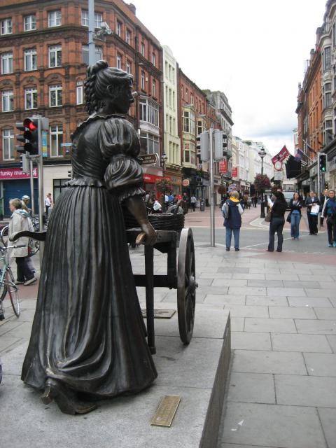 Die Statue der irischen Fischhändlerin Molly Malone an der Ecke Grafton Street/Suffolk Street