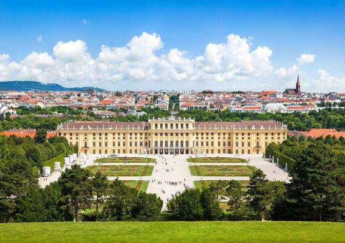 Beautiful view of Schloss Schönbrunn in Vienna, Austria