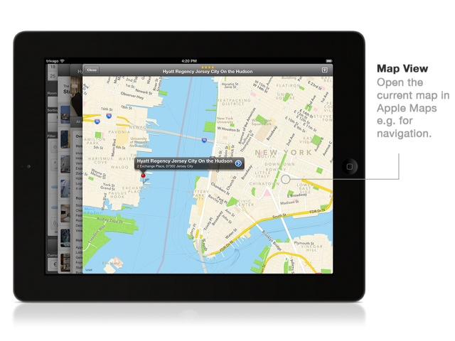 Die Verknüpfung zur Apple-Maps-Karte zeigt einem den eigenen Standpunkt und bei Bedarf über die Navigationsfunktion den direkten Weg zum Hotel an.