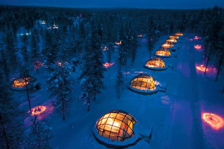 Hotel Igloo Village Kakslauttanen in Saariselka in Finnland.