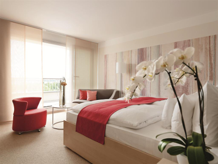 Eine Zimmeransicht des Hotels A-ROSA Travemünde.