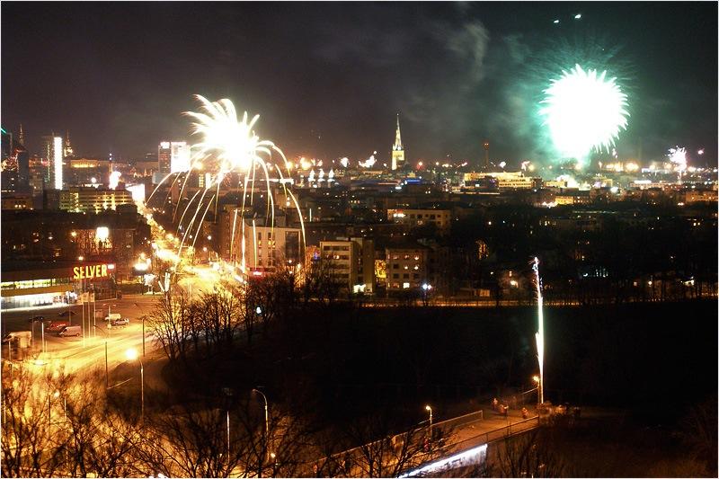 Silvester in Tallinn Feuerwerk Estland