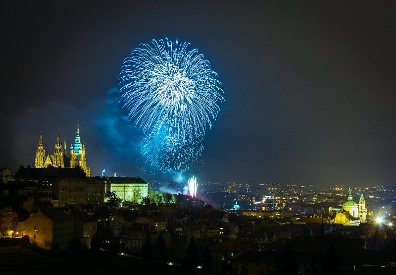 Silvester Prag Tschechische Republik Feuerwerk
