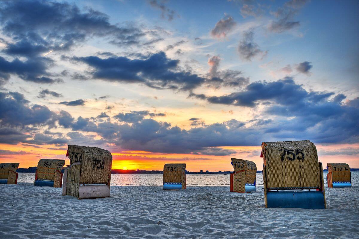 Strandkörbe Sylt Deutschland Sonnenuntergang