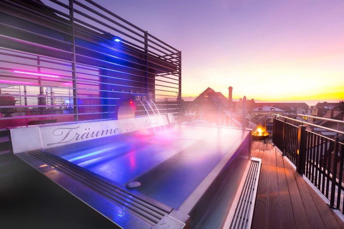 Ausblick von der Dachterrasse des Helvetia Hotels am Bodensee.
