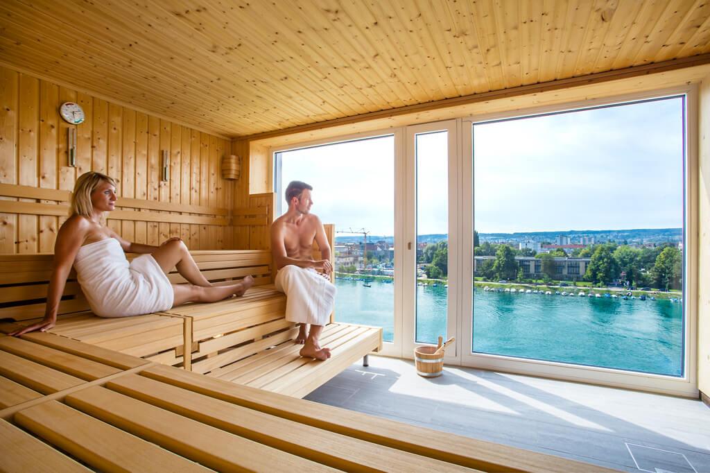 Die Panoramasauna im Wellnesshotel am Bodensee Hotel 47 Grad.