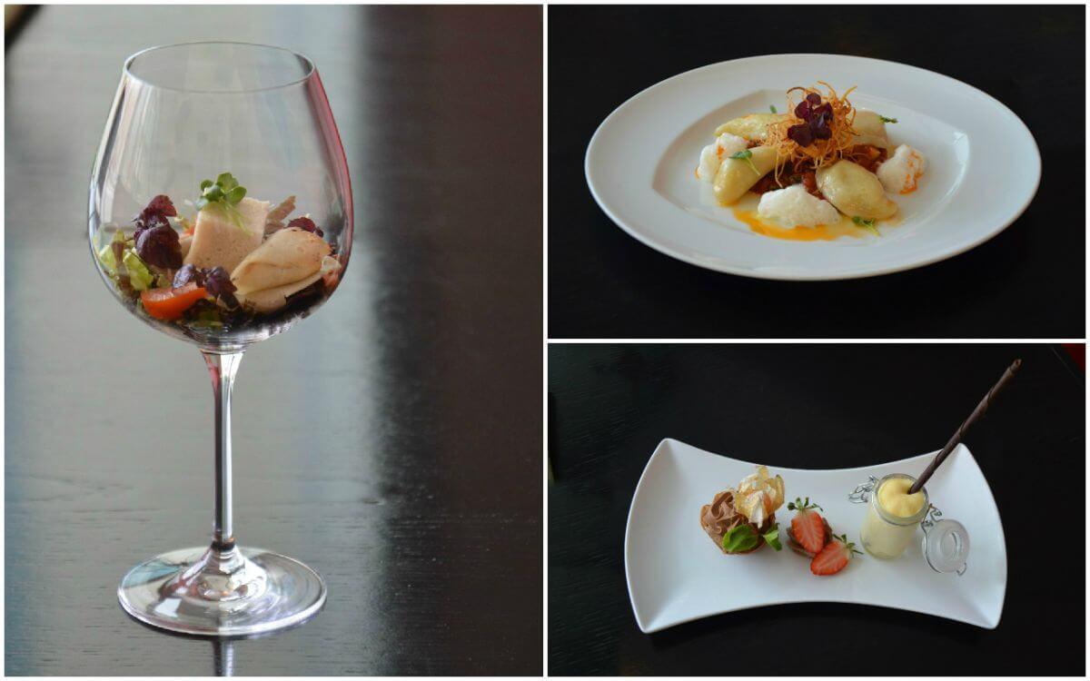 Veganes Menü im Arcortel Hamburg; Links: Liasion vom Spargel; rechts oben: Tiroler Schlipfkrapfen; rechts unten: Schokoladenmousse