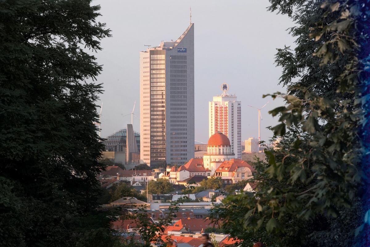 Der Blick vom Fockeberg auf Leipzig